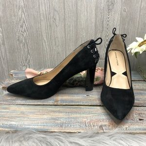Adrienne Vittadini Black Suede and Leather Heels